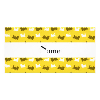 Personalized name yellow train pattern photo cards