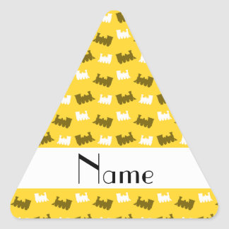 Personalized name yellow train pattern triangle sticker