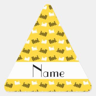 Personalized name yellow train pattern triangle sticker