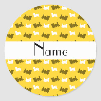 Personalized name yellow train pattern round stickers