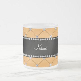 Personalized name yellow tuft diamonds coffee mugs