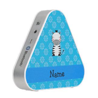 Personalized name zebra blue flowers