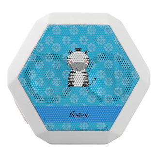 Personalized name zebra blue flowers white boombot rex bluetooth speaker