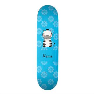 Personalized name zebra blue flowers custom skateboard