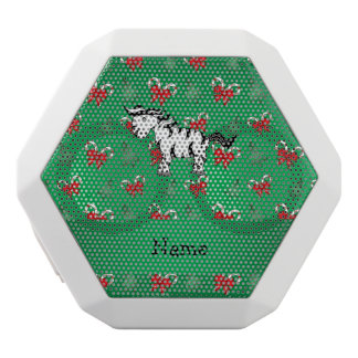 Personalized name zebra green candy canes bows white boombot rex bluetooth speaker