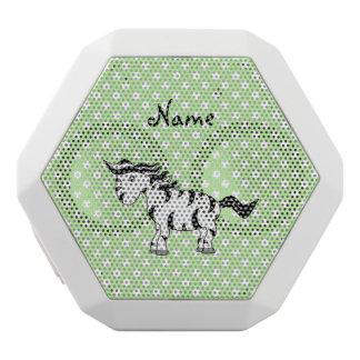 Personalized name zebra green polka dots white boombot rex bluetooth speaker