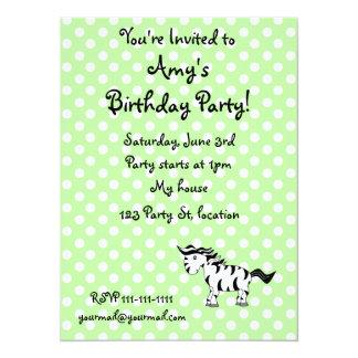 "Personalized name zebra green polka dots 5.5"" x 7.5"" invitation card"