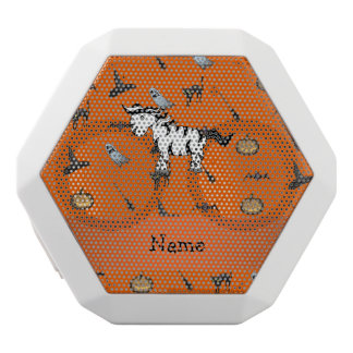 Personalized name zebra halloween pattern white boombot rex bluetooth speaker