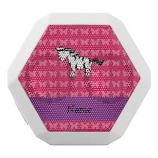 Personalized name zebra pink butterflies white boombot rex bluetooth speaker