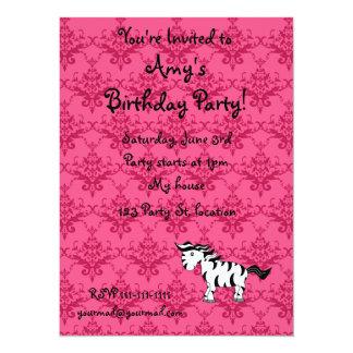 Personalized name zebra pink damask invite