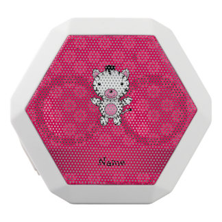 Personalized name zebra pink flowers white boombot rex bluetooth speaker
