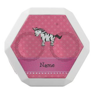 Personalized name zebra pink polka dots white boombot rex bluetooth speaker