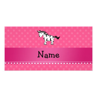 Personalized name zebra pink polka dots photo card template
