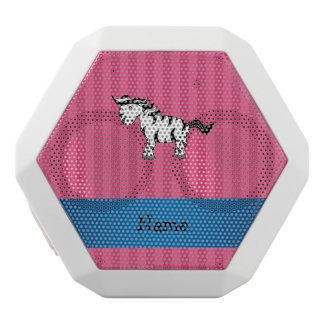 Personalized name zebra pink stripes white boombot rex bluetooth speaker