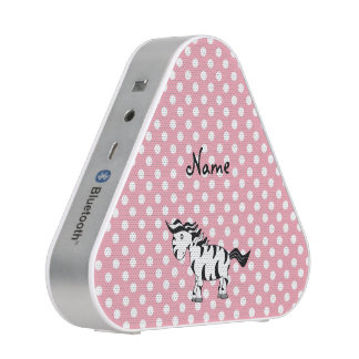 Personalized name zebra pink white dots