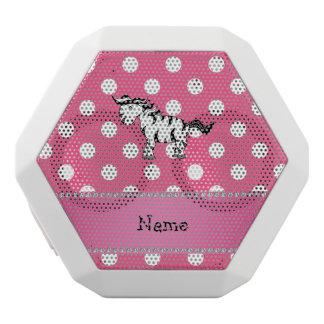 Personalized name zebra pink white polka dots white boombot rex bluetooth speaker