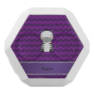 Personalized name zebra purple chevrons white boombot rex bluetooth speaker