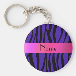 Personalized name zebra purple stripes basic round button key ring