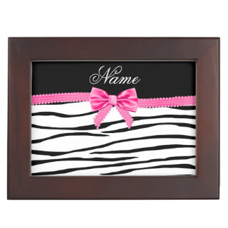 Personalized name zebra striped pink bow keepsake box