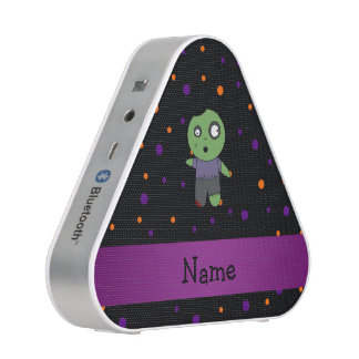 Personalized name zombie halloween polka dots bluetooth speaker