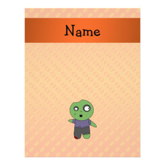 Personalized name zombie orange polka dots pattern flyer design
