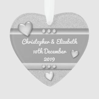 Personalized names 25th Silver Anniversary Heart Ornament