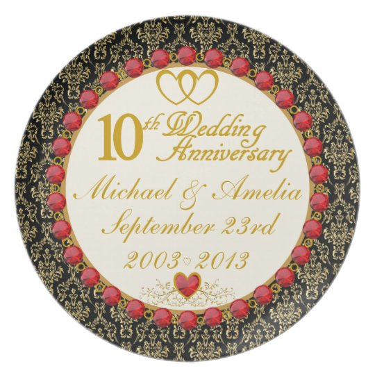 PERSONALIZED (NAMES/DATES) 10th Anniversary Plate