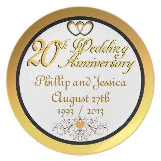PERSONALIZED (NAMES/DATES) 20th Anniversary Plate