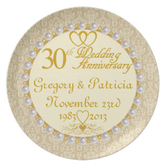 PERSONALIZED (NAMES/DATES) 30th Anniversary Plate