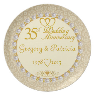 PERSONALIZED (NAMES/DATES) 35th Anniversary Plate