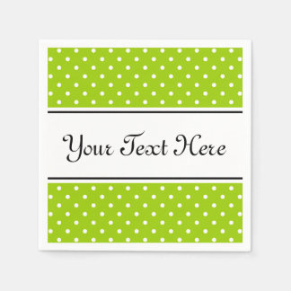 Personalized napkins | apple green and polka dots disposable napkins