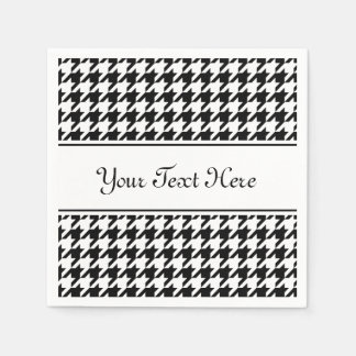 Personalized napkins | black houndstooth pattern disposable serviettes