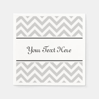 Personalized napkins | grey chevron pattern stripe paper napkin