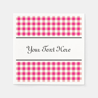 Personalized napkins | red gingham pattern design paper napkin