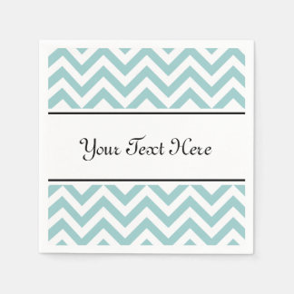 Personalized napkins | teal chevron pattern stripe disposable serviette