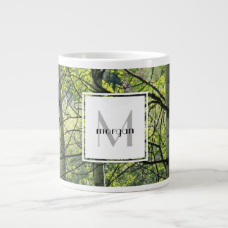Personalized nature, white aspen, add name/initial large coffee mug