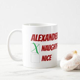 Personalized Naughty or Nice Christmas Coffee Mug