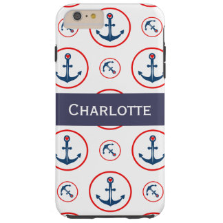 Personalized Nautical Anchor And Heart Tough iPhone 6 Plus Case
