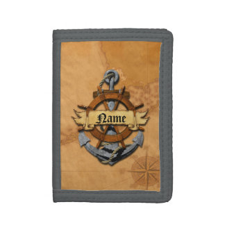 Personalized Nautical Anchor And Wheel Tri-fold Wallets