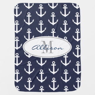 Personalized nautical anchor navy baby blanket