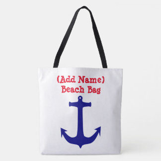 Personalized Nautical Anchor & Wheel Beach Bag