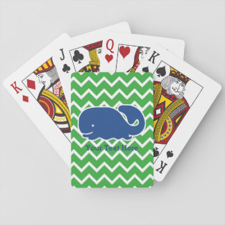 Personalized Nautical Blue Whale Chevron pattern Playing Cards