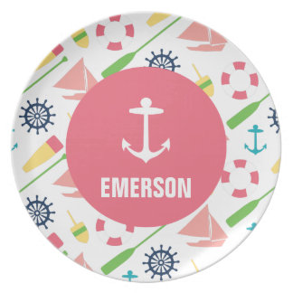 Personalized Nautical Kids Anchor Melamine Girl Plate