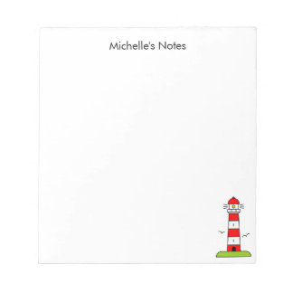 Personalized nautical lighthouse writing notepads