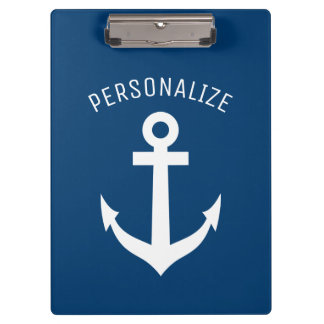 Personalized nautical navy blue boat anchor logo clipboard