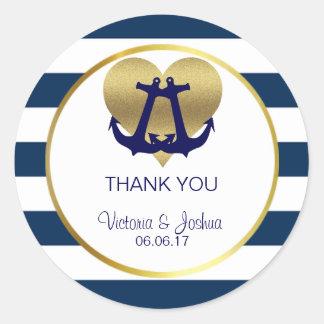 Personalized Nautical Navy Gold Heart Wedding Round Sticker