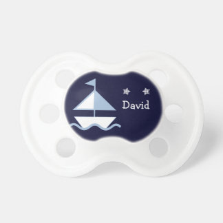 Personalized Nautical Navy Sail Boat Baby Pacifier