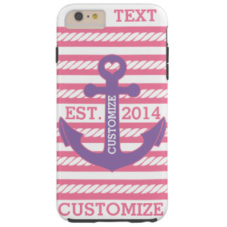 Personalized Nautical Pink Purple Anchor Stripes Tough iPhone 6 Plus Case