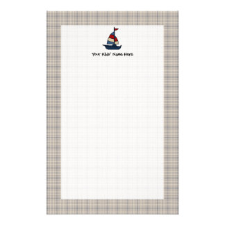Personalized Nautical Sailboat Blue/Tan Boy's Stationery