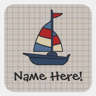 Personalized Nautical Sailboat Blue/Tan Boy's Square Sticker